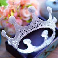 Joyería de pelo de círculo completo para fiesta de graduación de boda con coronas de cristal grandes Tiaras DE LA REINA real de HIMSTORY