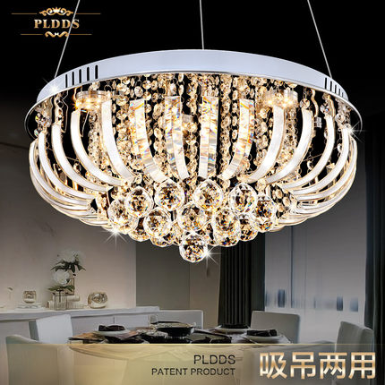 LED crystal chandelier restaurant rounded ceiling decorated light modern European dining room bedroom lamp modern crystal chandelier led hanging lighting european style glass chandeliers light for living dining room restaurant decor