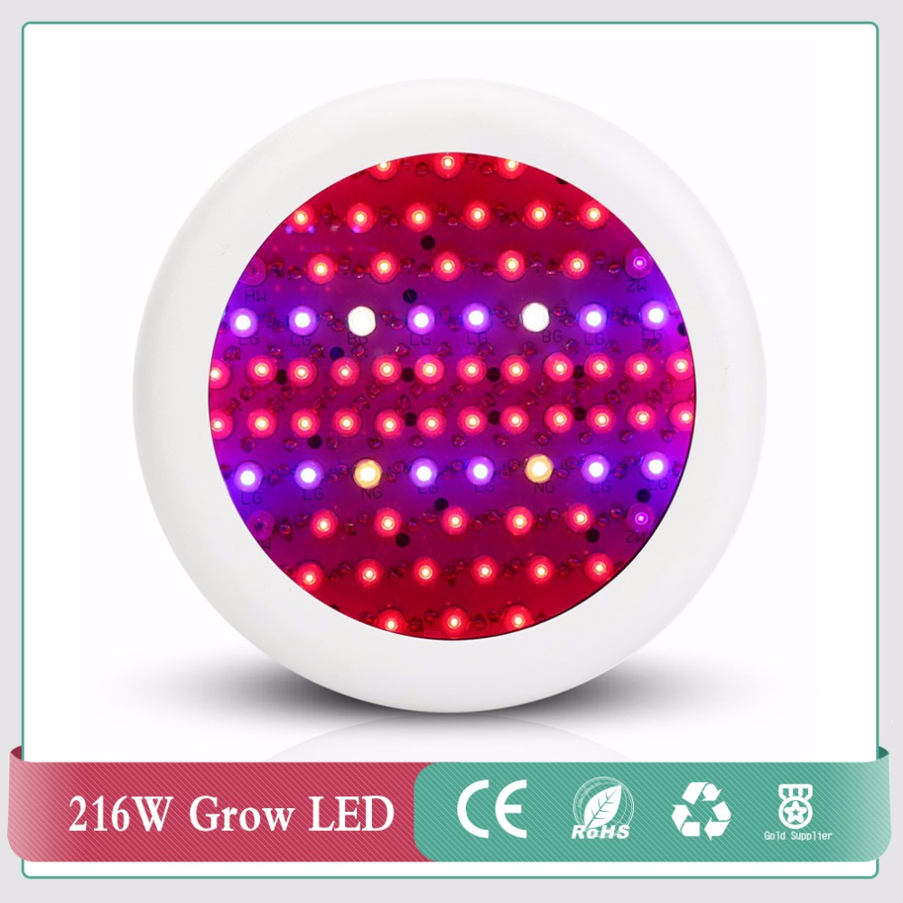 Full Spectrum 216W UFO LED Grow Light Indoor plants growth lamp Red+Blue+warm white+white+IR+UV led plant light for grow tent