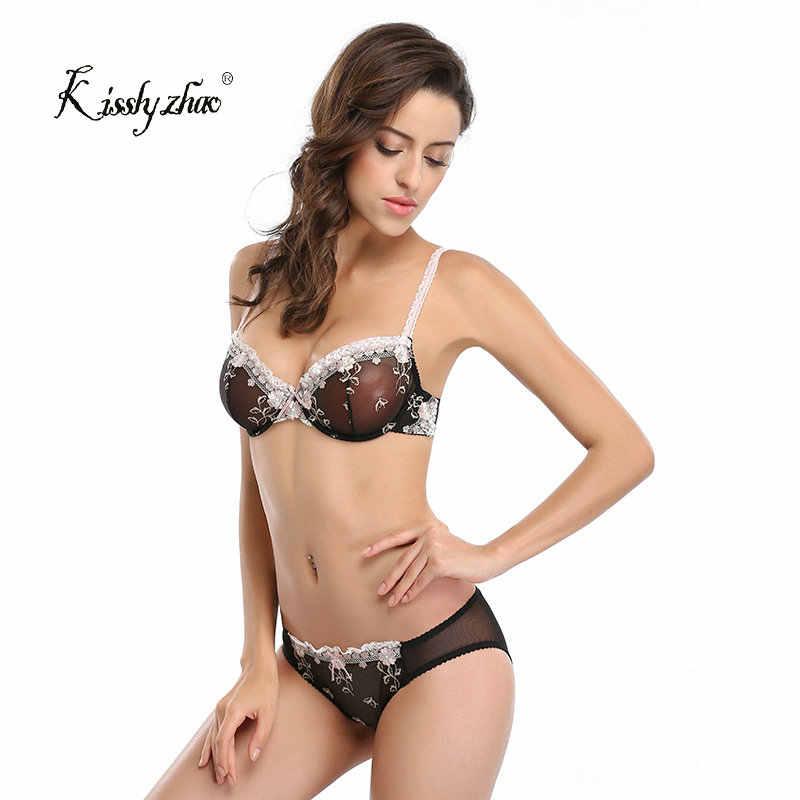 8f485d3502 Woman Sexy Lingerie Set Transparent Temptation Lace Bra Brief Set Young  Women Embroidery Underwear Set Lade