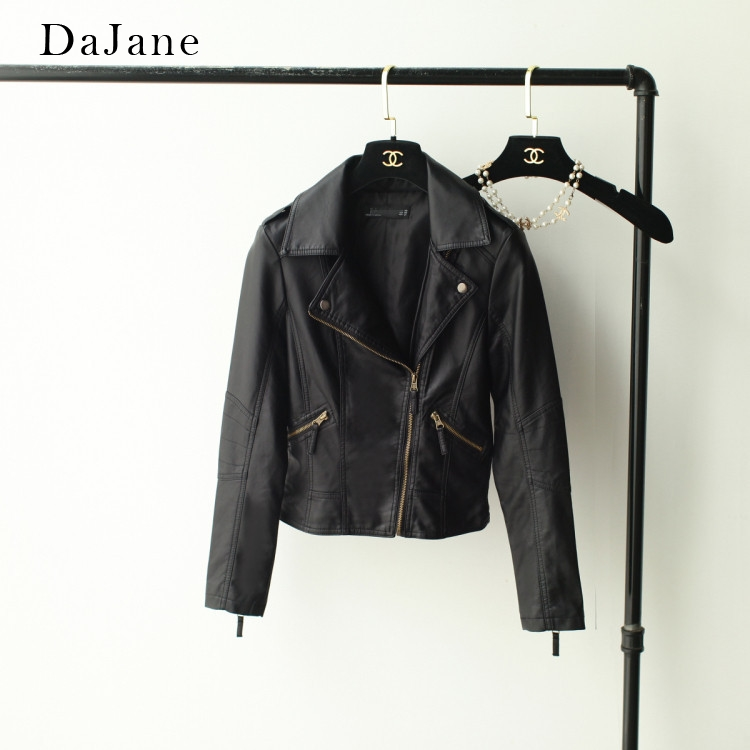 DaJane Spring   Leather   women's Lapel PU Washed   Leather   Motorcycle women's Short Jacket