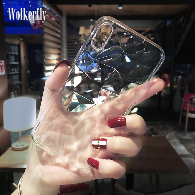 2019 <font><b>Silicone</b></font> <font><b>3D</b></font> Diamond <font><b>Case</b></font> For <font><b>iPhone</b></font> 11 Pro <font><b>X</b></font> XS Max XR Soft TPU Funda For <font><b>iPhone</b></font> 5 5s SE 6 6s 7 8 Plus Phone <font><b>Case</b></font> Cover image