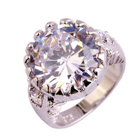 New Fashion Engagement Rings Round Cut Sparkling Pure White Topaz  925 Silver Ring Size 6 7 8 9 10 Wholesale Free Shipping