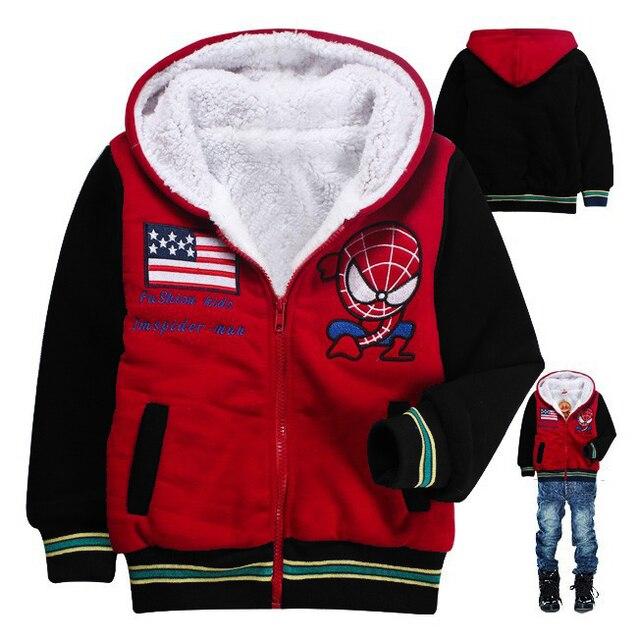 Meninos Spiderman jaqueta de crianças Outerwear meninos jaqueta de inverno com capuz Cardigan Outerwear bebê dos desenhos animados ACT14098