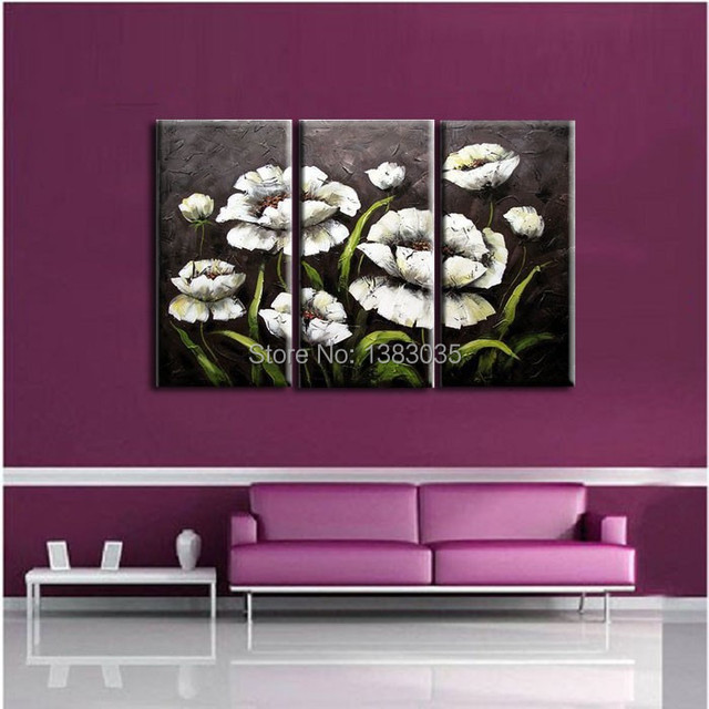 Hand Painted 3 Piece Modern Paintings Flowers Black And White Wall Art Set Abstract Oil On Canvas Picture Decor Home