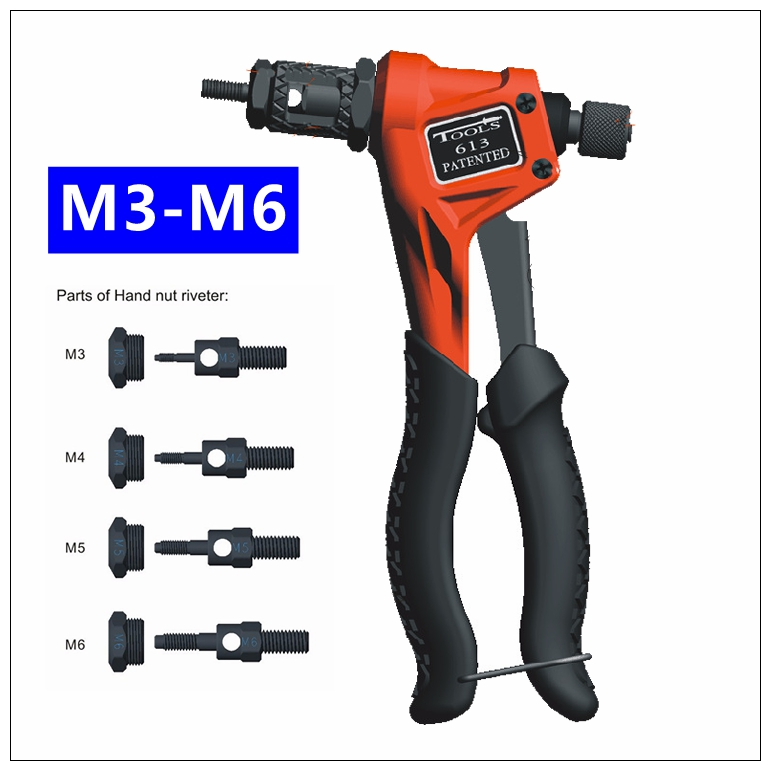 MXITA BT-613 Riveter Gun M3 M4 M5 M6 Blind Rivet Nut Gun 8 Heavy Hand INSER NUT Tool Manual Mandrels one-hand operation hot sales high quality hand riveter pull rivet nut riveting tools with one m8 die free shipping bt 606