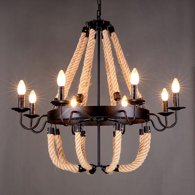 American Countryside Style Rope Vintage Wrought Iron Chandelier Creative Dining Room Chandelier Old Coffee Bar E14 WPL163 настенная плитка gracia ceramica marchese grey 01 10x30
