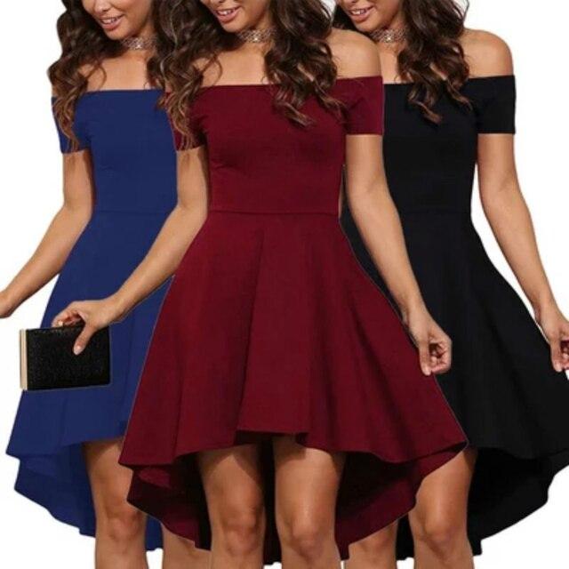 2018 Sexy Off the Shoulder Asymmetrical Hem Summer Dress Women Elegant Solid Short Sleeve Slash Neck Dress Tuxedo Plus Size