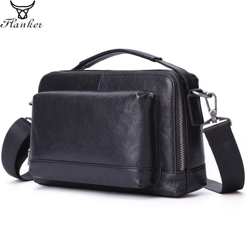 Flanker new genuine leather business men bag high quality messenger soft cow shoulder crossbody for male handbag