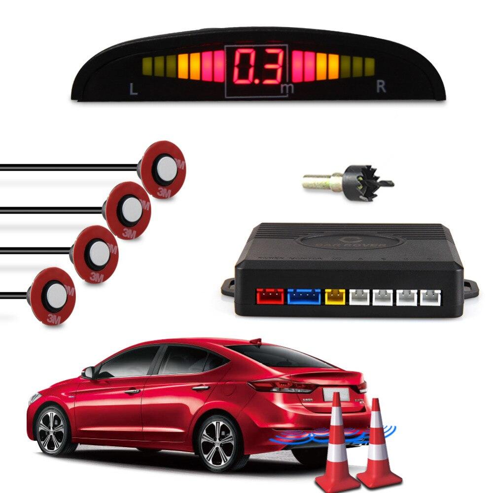 CAR ROVER Car Capteur de Stationnement Auto Syst/ème Stationnement Affichage LED Sonore avec 4 Capteurs Blanc