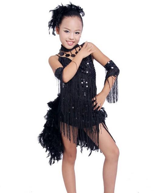 DB23553 fringe feather sequin latin dance dress-3