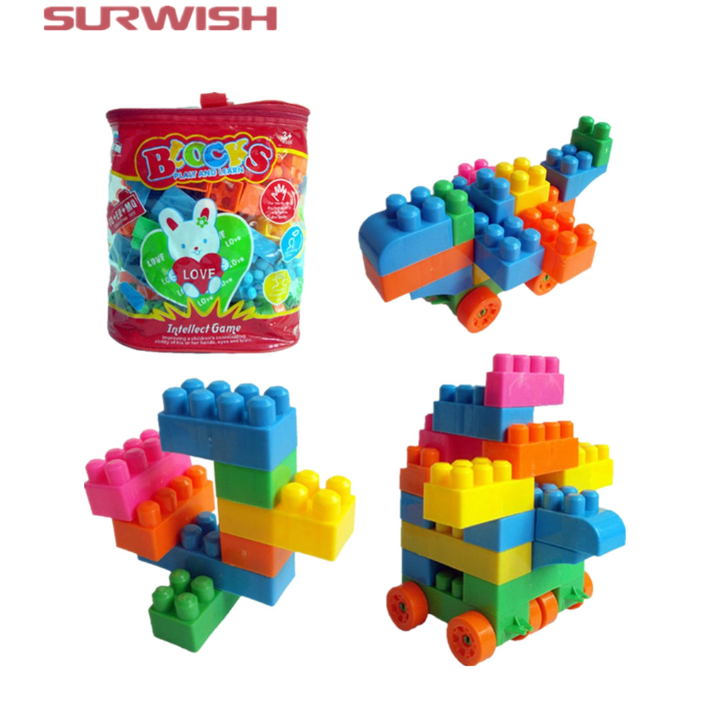 Surwish Reusable 74-Piece / set Plastic Kids early Educational Building Blocks Bricks Toys DIY Bloks Toy Set minitudou 100pcs snow snowflake building blocks toy bricks diy assembling early educational learning classic toys kids gift
