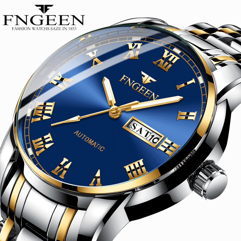 Men's Watch Luxury Brand FNGEEN Wrist Watches For Men Clock Date Week Display Luminous Quartz Watch Male Clock Relogio Masculino