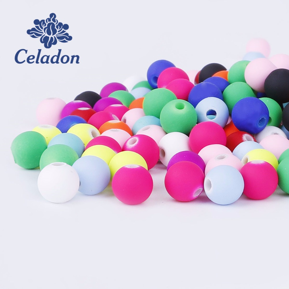 Jewelry & Accessories Jhnby Top Quality 100pcs Mixed Candy Color Acrylic Rubber Bead Neon Matte 10mm Round Spacer Loose Beads Jewelry Handmade Diy Latest Technology