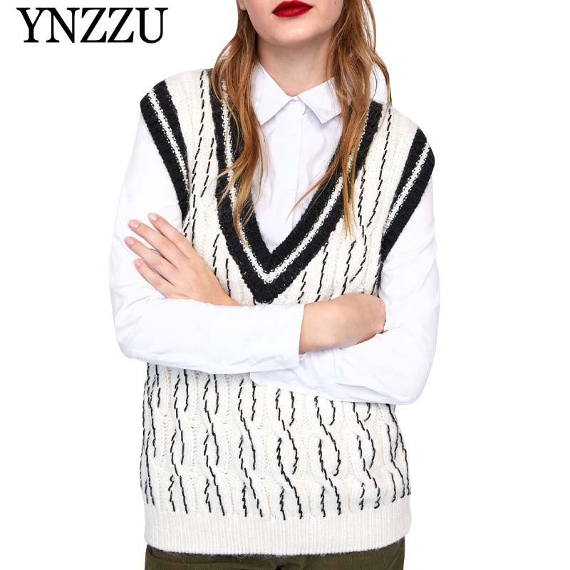 YNZZU High Street Sleeveless Knitted Sweater Women 2019 Spring V Neck Hit Color Twist Loose Female Pullover Vest Knitwear YT551