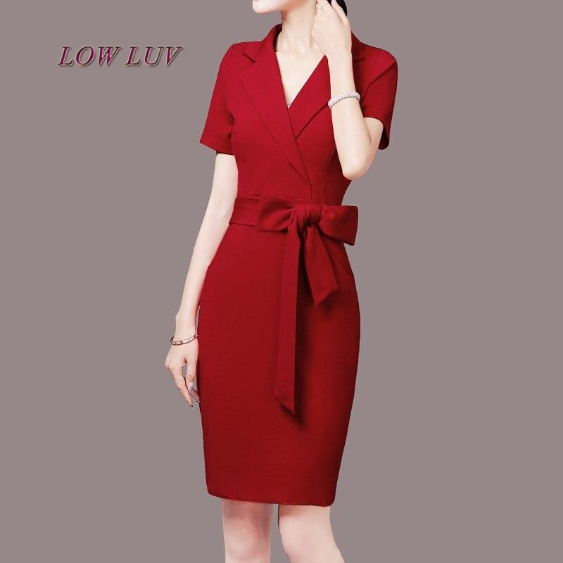 2017 nouvelles femmes version coréenne OL tempérament carrière longue section à manches courtes grande taille paquet robe de hanche robe de haute qualité