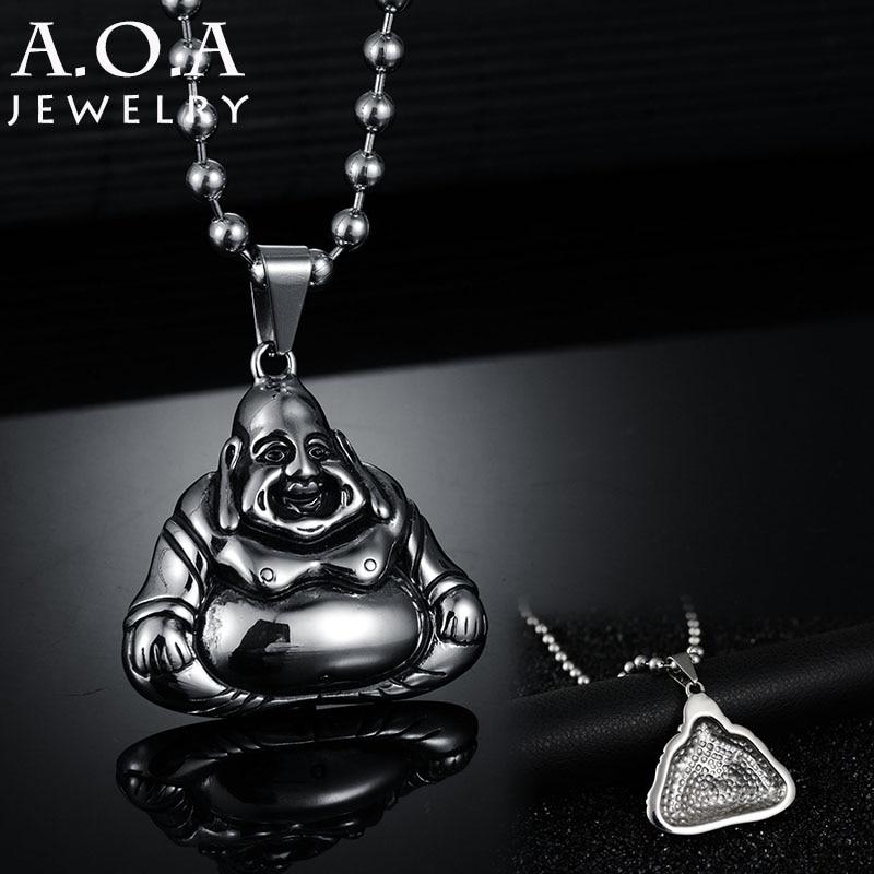 Top Quality Casting Pendant Necklace Stainless Steel Maitreya Buddha Pendant Necklace Amulet