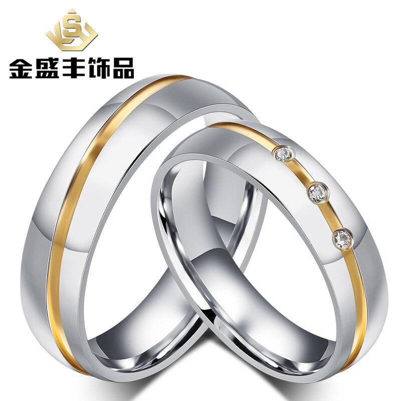 Любители инкрустация CZ камень, кольцо из нержавеющей стали модная Высококачественная обувь золочение кольцо для пары кольцо оптовая прода...