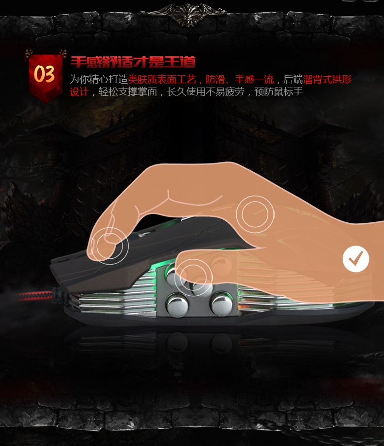 Hongsund NEW Suzaku II Gaming mouse+800/1200/1600/2400 DPI +USB 3D Professional Competitive Gaming 9 Buttons Mice 31