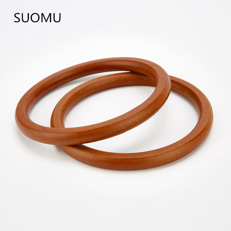 Round Wood Handle DIY Circle Natural Bamboo Wood Handle Sets For Totes Handbag Bag Accessory Bags Parts Wholesale High Quality 2