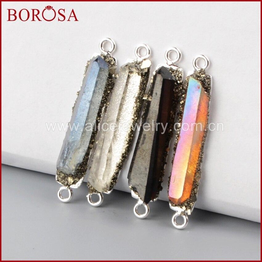 BOROSA Druzy Multicolor Cluster Aura Quartz Crystal Point Silver Connectors Double Bails for DIY Charm Bracelet Jewlery S1152