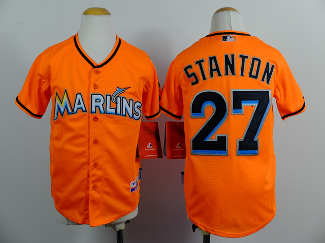 02835f7c3de ... Black Alternate 2 Cool Base MLB Jersey Miami Marlins Kids Jersey 27  Giancarlo Stanton Authentic Youth Baseball Jersey White Gray Orange Stitched  Logo ...