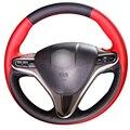Dg vermelho preto tampa da roda de direcção do carro de couro para honda civic civic velho 2006-2011