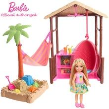 Barbie Brand Original Toy Doll Chelsea Tiki Hut Set Cute Mini Doll Beach Series Accessorie