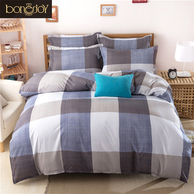 Bonenjoy Plaid Bedding Set Grey Black Boys Striped Bedding Cotton Blend  Bedspread Covers King Duvet Cover