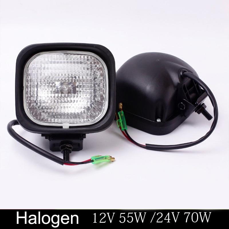 TWO 24 VOLT HALOGEN FLOOD LAMP FOR EXCAVATOR  BOOM LIGHT