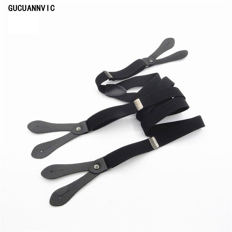 New Button Black Strap Wild Men Suspenders Leather Pants Hanging Folder Button Send Button Braces