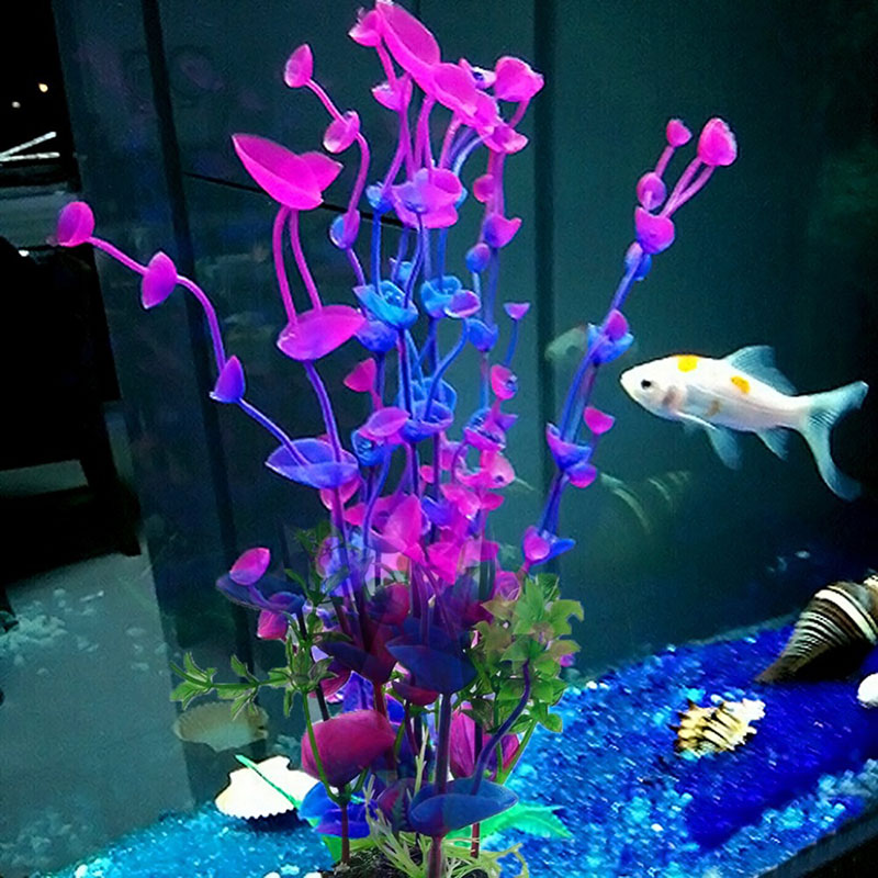 Saim Glowing Effect Artificial Plant for Fish Tank Decorative Aquarium Ornament,Lotus Color Random
