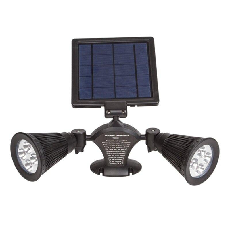 3W Solar Power Dual Heads 8 LED Solar Light Wall Lamp 360 Degree Rotation Outdoor Lawn Garden Light Path Spotlight l806 solar 8 led light black
