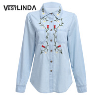 VESTLINDA 2017 Blouse Embroidery Blouses Women Turn Down Collar Long Sleeve Ladies Blusas Mujer Blue Cotton