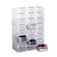 24pcs Clear Transparent Drawer Case Folding Home Plastic Shoes Boxes Organiser Holder Stackable Storage Box