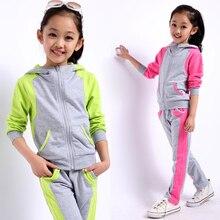 Детская одежда комплект для весна и осень спорт балахон комплект для девочек 2 шт. / с длинным рукавом балахон + брюки