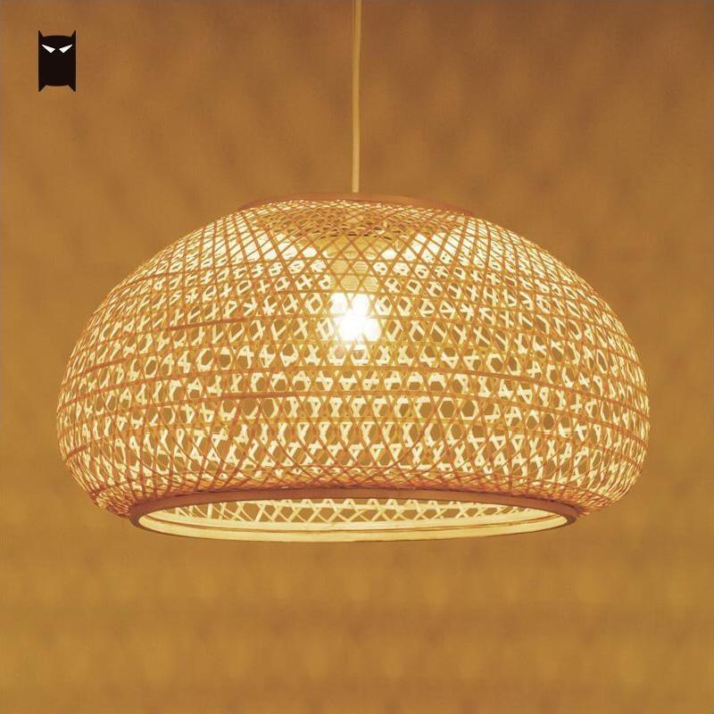 Круглый бамбука плетеная из ротанга абажур подвесной светильник северные скандинавские деревенский японский подвесной потолочный светил