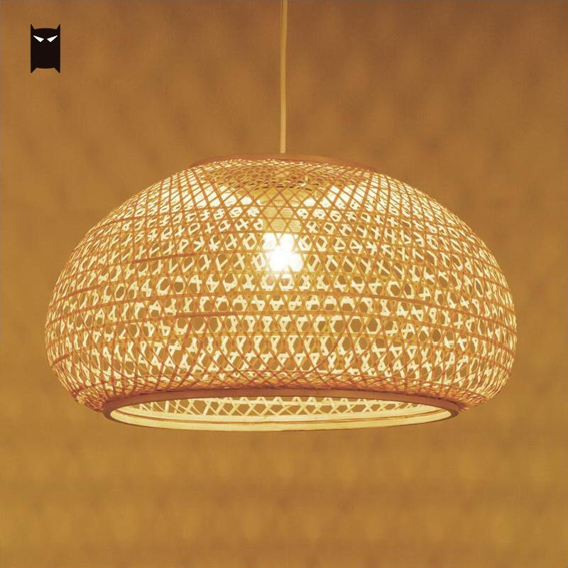 Round Bamboo Wicker Rattan Shade Pendant Light Fixture Nordic Scandinavian Rustic Japanese Hanging Ceiling Lamp E27 Bulb 220V chinese style rustic lantern bamboo rattan knitted classical led pendant light bedroom e26 e27 7w bulb 96 240v decorative lamp