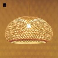 Round Bamboo Wicker Rattan Shade Pendant Light Fixture Nordic Scandinavian Rustic Japanese Hanging Ceiling Lamp E27 Bulb 220V