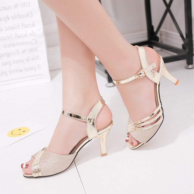 Shoes Woman Pumps High-Heels Bling Silver Mujer Dress 7217 Zapatos