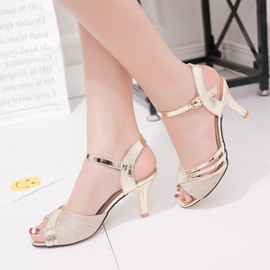 Women Sandals 2019 Summer Shoes Woman Dress Shoes Bling Weddging Shoes Silver High Heels Pumps Ladies Shoes zapatos mujer 7217(China)