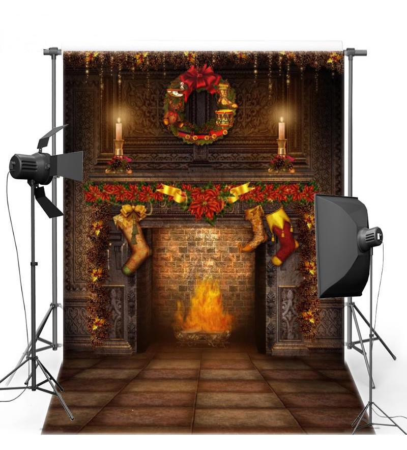 Fireplace Fire Candle photo studio background Vinyl cloth High quality Computer printed christmas photo backdrop allenjoy christmas backdrop tree gift chandelier fireplace cute professional background backdrop for photo studio