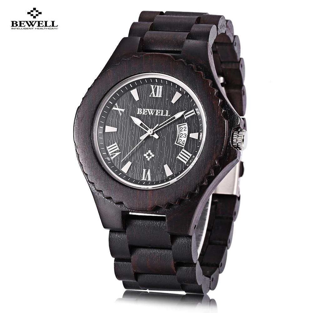 Bewell Men Wooden Quartz Watch Date Luminous Display Japan Movt Wristwatch cagarny 6819 men quartz watch japan movt date round dial leather band