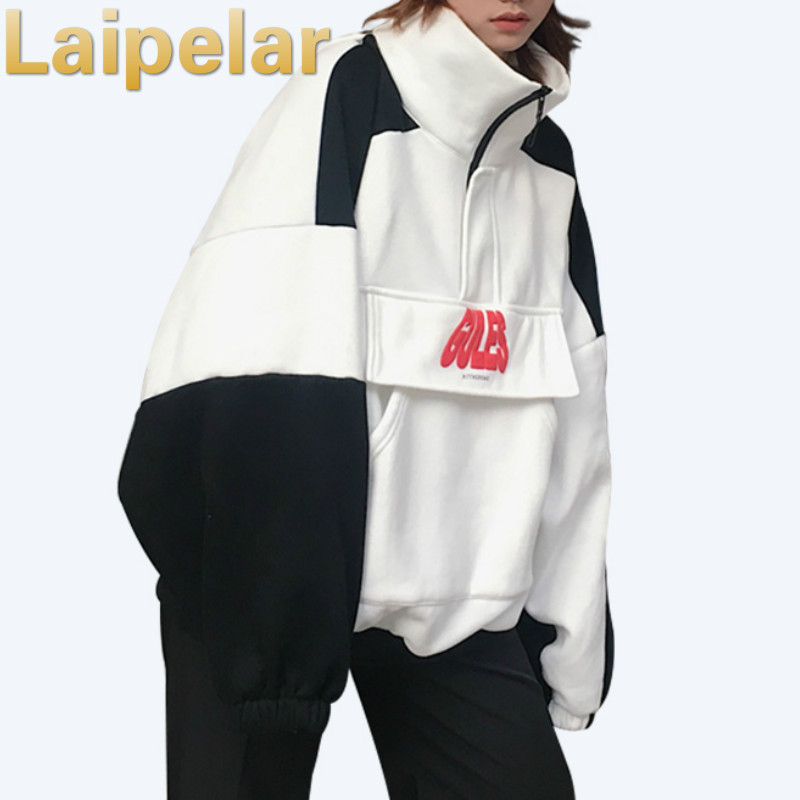 Laipelar 2018 Oversized Sweatshirt Tops Women Fashion Loose Pop Black Hoodies Women Pullover Female Harajuku Sweat Femme
