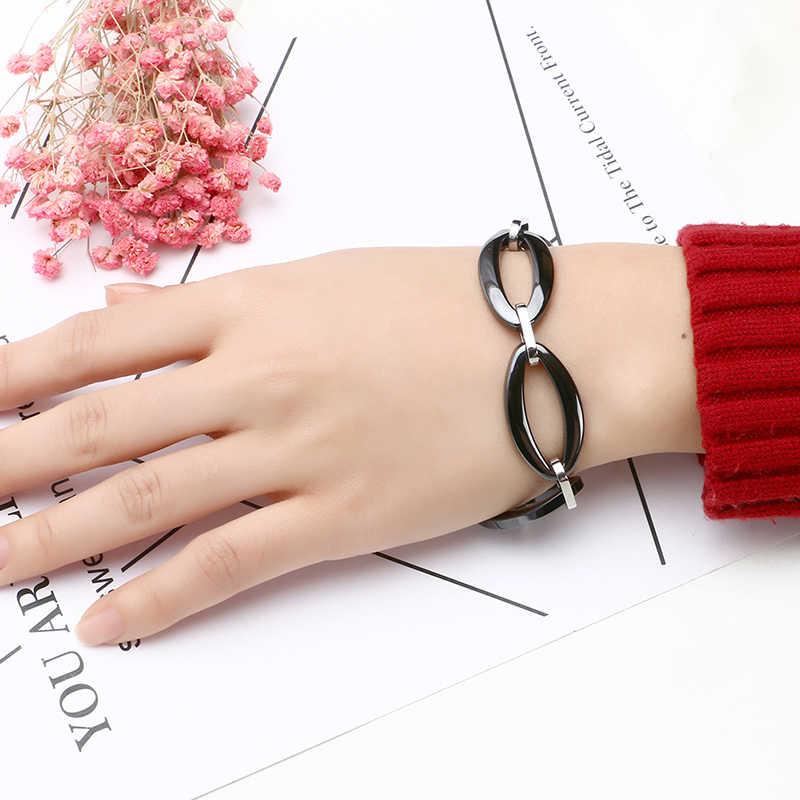 Nowy duży owalny Link Chain bransoleta ze stali nierdzewnej czarny biały kolor ceramiczny modny damski bransoletka biżuteria eleganckie prezenty