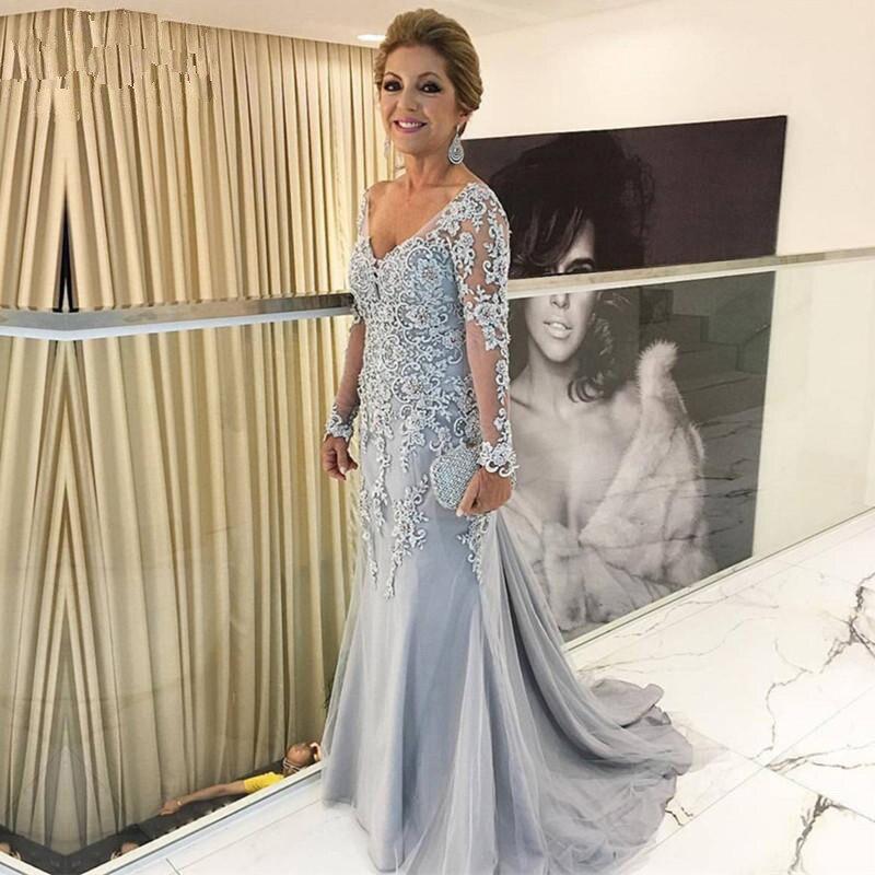 Silver Muslim Evening Dresses 2018 Mermaid Long Sleeves Lace Formal Islamic Dubai Saudi Arabic Long Elegant Evening Gown Prom
