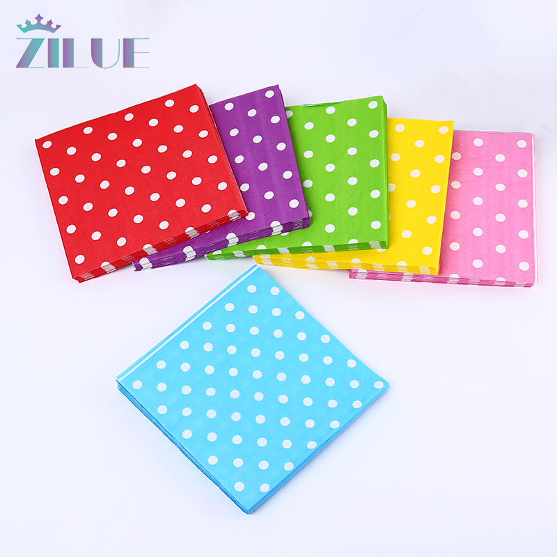 Zilue 20Pcs/Pack Paper Napkins Dinner and Kids Birthday Party Ornament Supplies Wedding Decor Polka Dot Paper Napkins Six Color