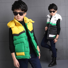 2019 New Boy Winter Vest Hooded Warm Sleeveless Jacket Boys Fashion Patchwork Waistcoat Children's Outerwear Clothing 120-170