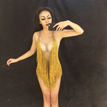 Women Sparkly Gold Tassel Bodysuit Rhinestones Outfit Glisten Beads Costume One-piece Dance Wear Singer Stage Leotard