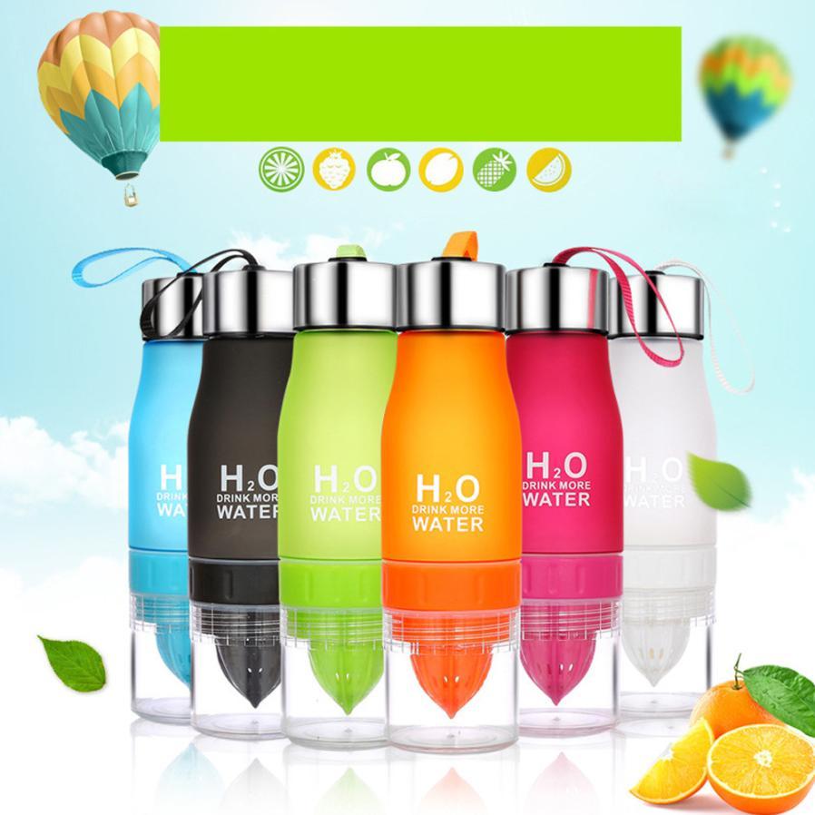 Nuevo 650 ml botella de agua de limón beber más agua potable botella may31